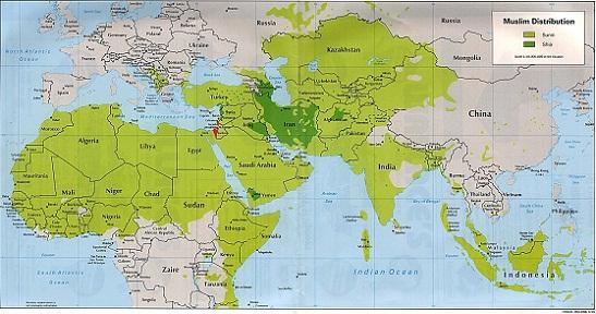 Muslimsk verden i grønt