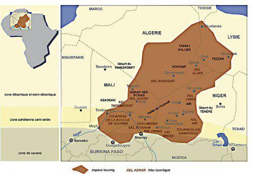 """Her er hele tuareg opprinlig  territoriet ! På grunn av kolonisering og grensen kalt """"arr """"tegnet i delingen av den internasjonale konferansen i Berlin (1864-1865), har Tuareg folket   blitt demontert og gitt som et offer til 5 helt kunstig nasjonalstater skapt av koloniherrer. 5 stater: Algerie, Mali, Niger, Libya, Burkina Faso."""