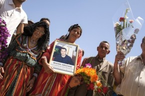 Paying homage to the Amazigh singer Ferhat Mehenni's son Ameziane in Maraghna, in Kabylia region in Algeria. Credit: Karlos Zurutuza/IPS.