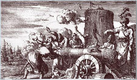 Faderr Jean Le Vacher, fransk konsul, bindet i  munnen til en kanon