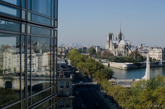 church of Notre Dame de Paris seen from the Arab World Institute funded by France, symbol of a crime against humanity