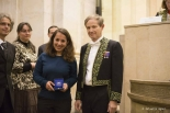 Yasmine Amhis upon delivery of the prize, in the presence of Sébastien Candel, vice president of the Academy of Sciences (PH / CD)